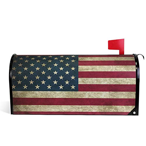 ALAZA Welcome Mailbox Covers Magnetic Retro Vintage US American Flag Patriotic Post Box Cover Wrapped Standard Size 20.7 x 18.03 Inch for Garden Yard Decor