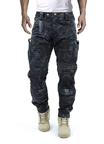 Survival Tactical Gear Men's Airsoft Wargame Tactical Pants with Knee Protection System & Air Circulation System (Typhon Pattern, L)