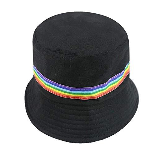 Bucket Hat Chapeau Chapeaux Bob Femme Noir Blanc Couleur Unie Arc-en-Ciel Chapeaux De Pêcheur Noir