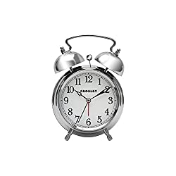 Crosley 33013 Classic Twin Bell Vintage Metal Alarm Clock / Non Ticking by Timelink