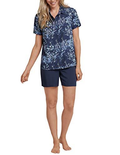 Schiesser Damen Anzug kurz, 1/2 Arm Zweiteiliger Schlafanzug, Blau (Dunkelblau 803), 46 (Herstellergröße: 046)