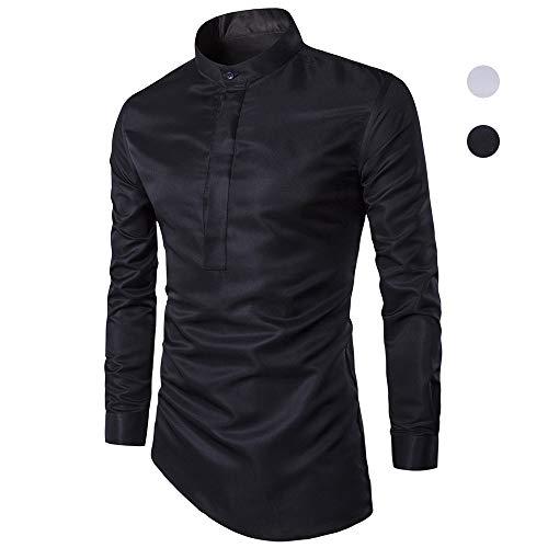 X&Armanis Kragenhemd für Herren, Hemden mit unregelmäßigem Saum aus Baumwollgemisch Herbst Freizeit-Shirt (schwarz/weiß),1,XL