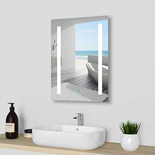 Espejo de pared 45 × 60 cm LED espejo con pantalla táctil espejo de pared con iluminación LED CE IP44