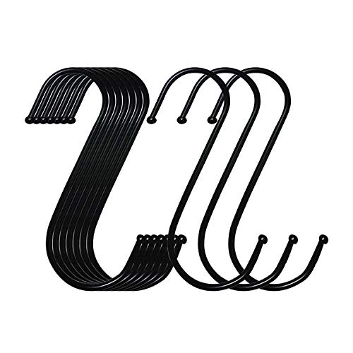 S Hooks 10 Pack 4.9 Inches Black, Heavy Metal S-Shaped Hooks, Suitable for Kitchen, Bathroom, Office, Garden or Outdoor Activities
