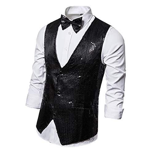 Sharplace Chaleco de Traje de Vestir con Lentejuelas Cierre de 3 Botones para Hombres - Negro, XL