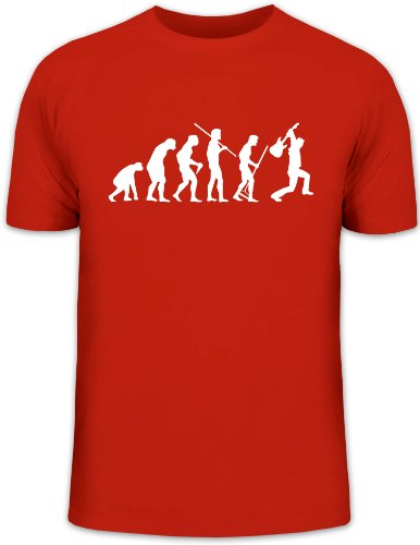 Shirtstreet24, Evolution HEAVY METAL, Electric Guitar, Music Funshirt, Größe: M,rot