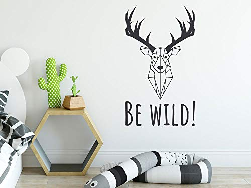 GRAZDesign Wandtattoo Geweih Wandsticker REH Baum Rentier - Aufkleber Wanddeko für Wohnzimmer Schlafzimmer Küche modern / 52x30cm / 074 Mittelgrau