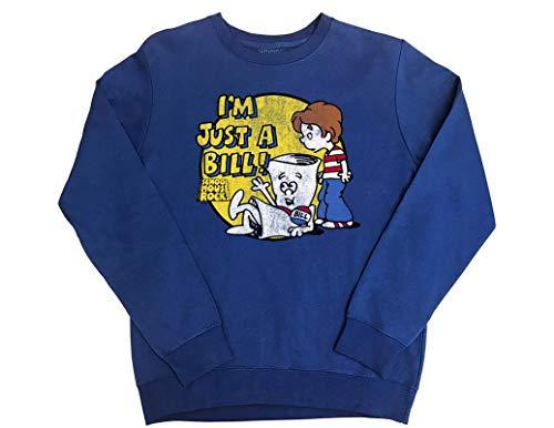 Ripple Junction Schoolhouse Rock Adult Unisex I'm Just a Bill Fleece Crew Sweatshirt SM Royal