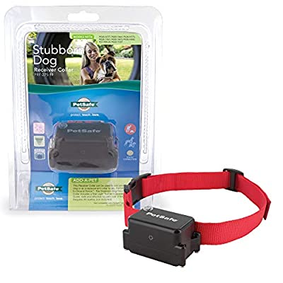 PetSafe Stubborn Dog Receiver Collar, In-Ground Fence Collar, Waterproof, with Tone, Vibration and Static Correction for dogs 8lb and Up