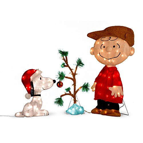 Peanuts Worldwide Charlie Brown, Snoopy & The Lonely Tree Lighted Outdoor Christmas Decoration