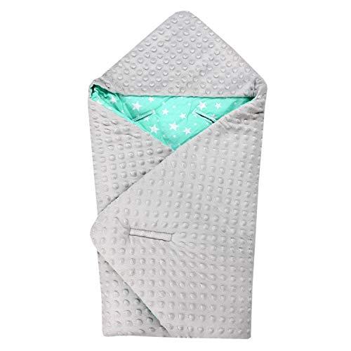TupTam Baby Winter Einschlagdecke für Babyschale Wattiert, Farbe: Sternchen Mint/Grau, Größe: ca. 75 x 75 cm