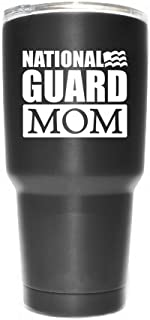 National Guard Mom Flag Vinyl Decal Sticker ( 2 Pack!!! ) | Yeti Tumbler Cup Ozark Trail RTIC Orca | Decals Only! Cup not Included! | White | 2 - 3.5 X 2.9 inch | KCD1798W
