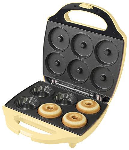 Bestron Gugelhupf Maker, Waffeleisen für 6 Gugelhupf, Sweet Dreams, Antihaftbeschichtung, 900 Watt, Gelb