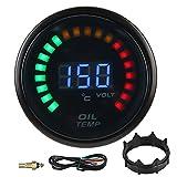 Qiilu Indicatore della temperatura dell'olio, indicatore digitale della temperatura dell'olio da 52 mm Display LCD a colori a LED con sensore per il cablaggio dell'auto