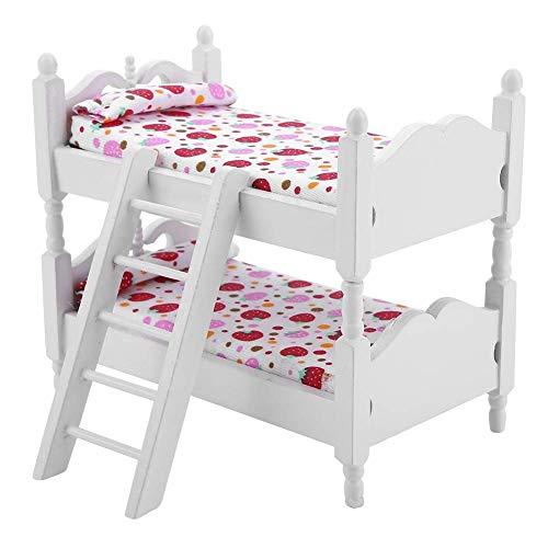 YUHT Puppenhaus Möbel, 1:12 Puppenhaus Mini Möbel Kinder Schlafzimmer Modell Etagenbett Spielzeug für Kinder Spielzeug Puppenhaus DIY (rosa Erdbeere)
