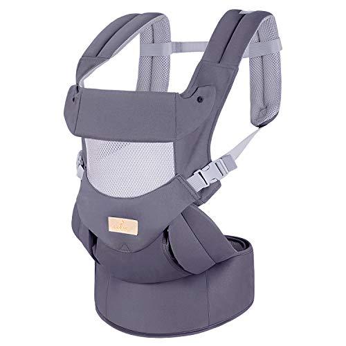 CoEve Babytrage, ergonomisch, sicher, kompakt, reine Baumwolle, weich, leicht, atmungsaktiv, verstellbar, mehrere Positionen, ideal für Babys und Kleinkinder von 3 bis 36 Monaten (3,5 bis 20 kg)