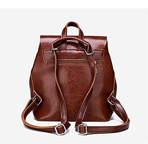 Backpack women's backpack pu leather shoulder bag travel fashion casual digital backpack-black