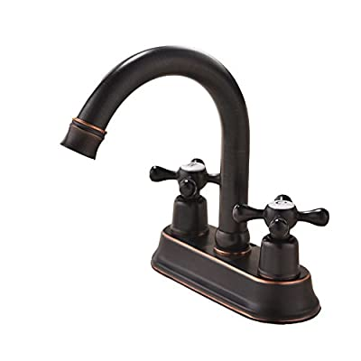 VAPSINT Contemporary Lavatory Vanity 2 Handles 2 Holes Oil Rubbed Bronze Bathroom Faucet, Bathroom Sink Faucet with Water Supply Lines & Pop Up Drain