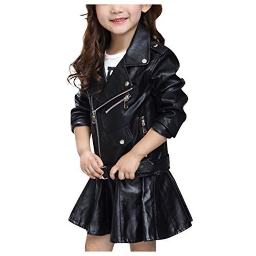 PARUYU Kinder Mädchen Jungen Jacke, Herbst und Winter PU Einfarbige Lederjacke Warm Leder Mantel Kinder Biker Style