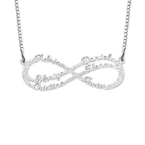 Unendlich Namenskette Sterling Silber mit 1/2/4/6 Name Halskette Damen Persönalisierte Namen Halskette Individuelle Unendlichkeit Familienkette Kette für Frauen Mädchen Schmuck (6 Name)