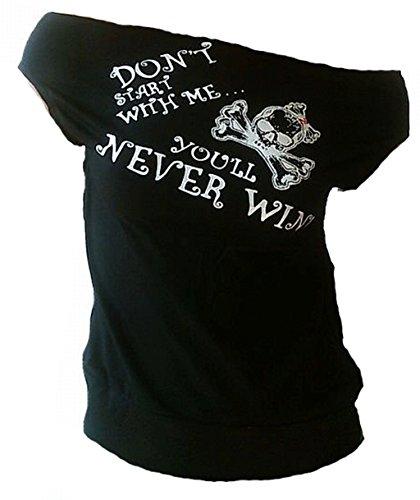 TICILA Damen Designer U-Boot Top Shirt Don't Start with Me You'll Never Win Silber Girlie Totenkopf Schwarz Rockabilly Rockabella L 42