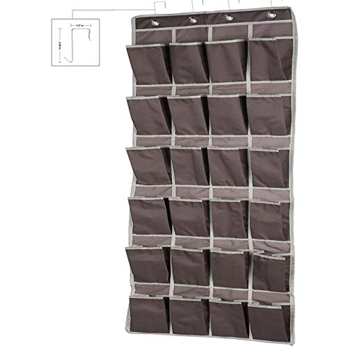 Over The Door Storage Shoe Organizer24 Extra Large Fabric Pocket Hanging Shoe Rack Over The Door Complete with 4 Strong Metal HooksBrown