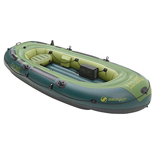 Sevylor Schlauchboot Fish Hunter FH360, ideal zum Angeln, aufblasbares Boot für 4 Personen, inkl. Angelrutenhalter, Vorrichtung für Elektromotor, 338 x 137 cm