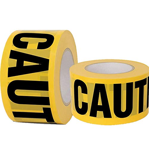 Yellow Caution Tape 2 Pack, 3 inch x 1000 feet, Hazard Tape Black and Yellow, Strongest & Thickest Tape, Weatherproof Resistant For Danger/Hazardous Area, Caution Party Halloween Decorations Supply