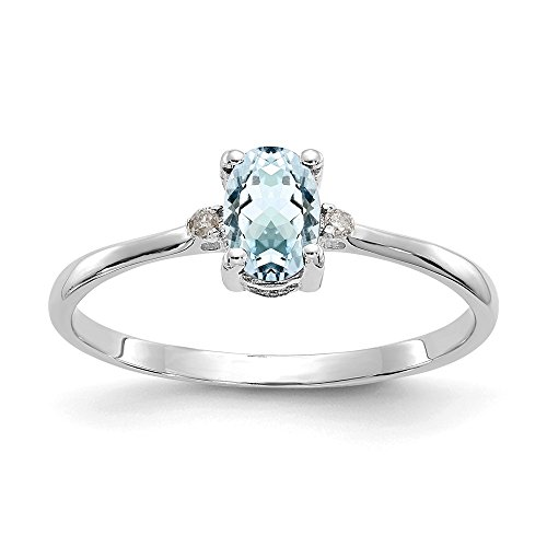 14k White Gold Diamond Blue Aquamarine Birthstone Band Ring Size 6.00 March Oval Fine Jewelry For Women Gifts For Her