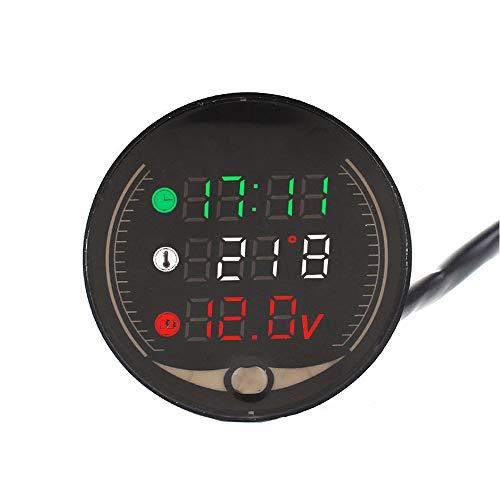 VKTY Medidor digital de voltios para motocicleta, 12 V, multifunción, termómetro para manillar de motocicleta, 3 en una vez, indicador LED de temperatura, medidor de voltaje de motocicleta