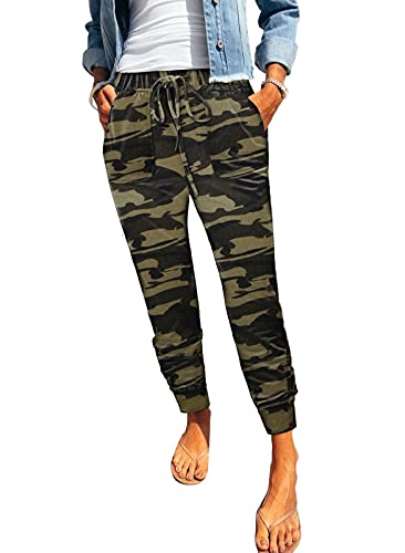 ROSKIKI Womens Joggers Pants Active Fashion Camouflage Ladies Casual Drawstring Sports Trousers with Pocket 2XL
