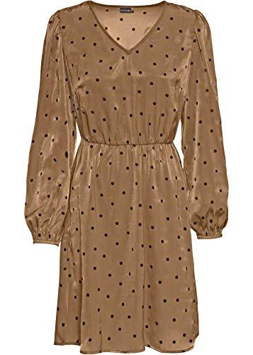 bonprix Kleid mit Ballonärmeln Goldbraun/schwarz gepunktet 36 für Damen
