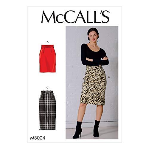 McCall's naaipatroon-M8004E5-Misses' Rok en riem, Papier, Wit, Diverse