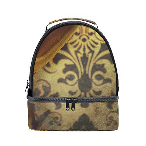 Schulter Double Lunch Bag Golden Vorhang Kühler verstellbarer Gurt für Picknick