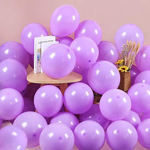 100 Piezas Morado Globos Pastel 10 Pulgadas Macaron Latex Balloon Morado Claro Globos de Helio Globos de Fiesta para Decoraciones de Cumpleaños Bodas Fiestas Aniversario Baby Shower