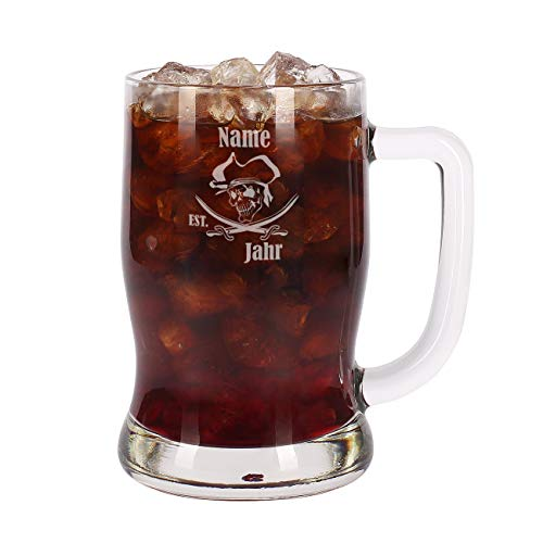 Leonardo Rum Glas Krug - Pirat - mit Gratis Gravur des Namens u. Geburtsjahr 0,5l