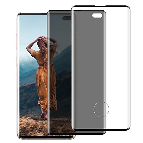 (2 Pack) Glass Screen Protector for Samsung Galaxy S10 Plus, 9H Tempered Glass, Ultrasonic Fingerprint Compatible,3D Curved, HD + Privacy, for Galaxy S10 Plus / S10+