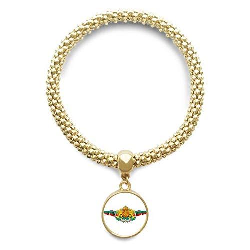 DIYthinker Damen Bulgarien-Flagge National Emblem Goldene Armband Laufende Anhänger Schmuck-Kette