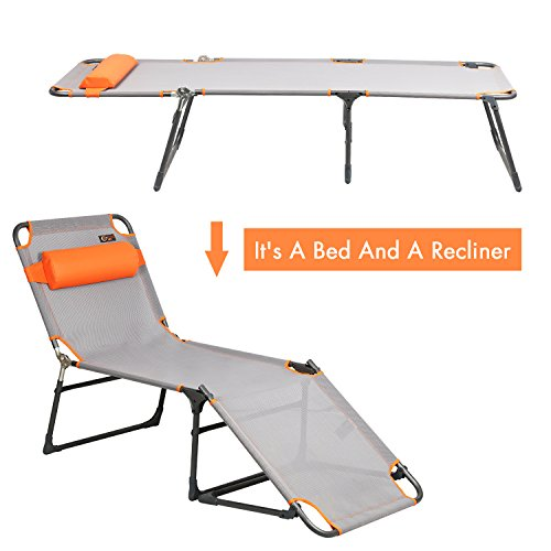 PORTAL Adjustable Folding Reclining Lounger Beach Bed Cot, Grey, Set Up Size: 76' (L) X 25' (W) X 15.75' (H)