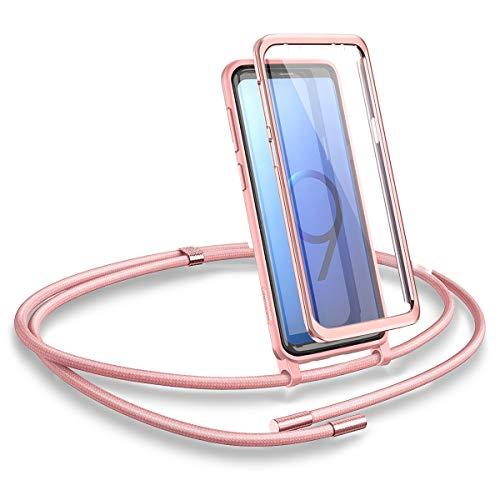 SURITCH Funda con Cuerda para Samsung S9, Carcasa TPU Silicona Case con Protector de Pantalla con Colgante Ajustable Collar Correa de Cuello Cordón con Samsung Galaxy S9 (Oro Rosa)