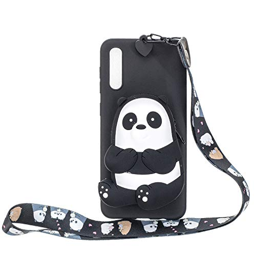 HopMore Kompatibel mit Samsung Galaxy A50 2019 Hülle Silikon Mit Kopfhörer Tasche Schlüsselband Muster Galaxy A50 Handyhülle 3D Schutzhülle Weich Handy Hülle Stoßfest Silikonhülle - Schwarzer Panda
