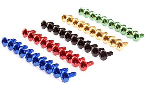 Verkleidungsschrauben 5mm Auto Motorrad Roller Aluminium rot blau schwarz gold grün Alu farbig bunt 13 und 16mm lang, Menge:10er Set (16mm), Abmessung/Farbe:blau eloxiert