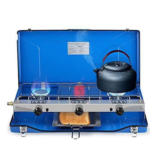 Camplux JK-5330 Camping Gaskocher 3-Flammig mit Deckel, 4.5kW Gas Kochplatte, Campingkocher Kompaktes Butan/Propan für Reisewinddichter Gaskocher