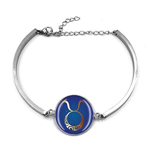 Constelación Taurus Pulsera de cadena de metal de cristal de recuerdo, pulsera de acero inoxidable de moda para hombre y mujer regalo especial de día