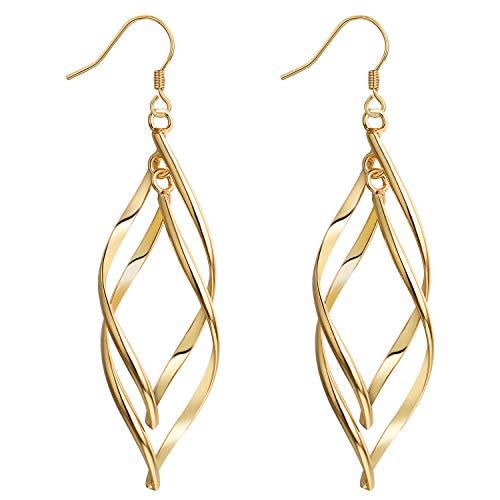 Yoursfs Earrings Women Dangling 18ct Yellow Gold Plated Wave Twist Classic Double Linear Earrings Fashion Jewellery Gift