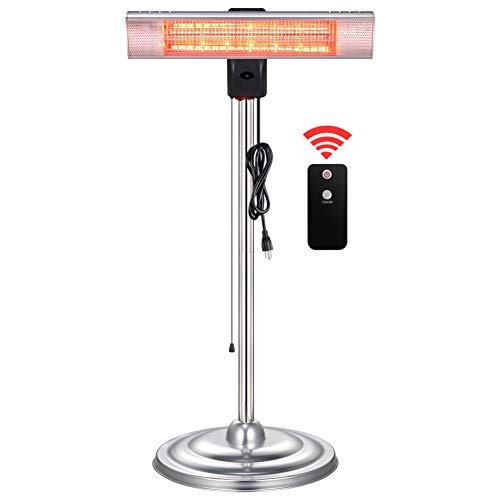 Outdoor Heater, Electric Patio Heater, Indoor&Outdoor Infrared Heater with Switch Display, Adjustable Height, Waterproof with IP65, Freestanding with Remote, 750W/1500W