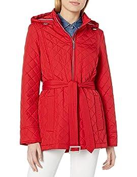 Tommy Hilfiger Women s Quilted Jacket with Tie Waist Belt Crimson Medium