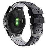 Abanen for Fenix 5X/Fenix 6X Silicone Watch Band, 26mm Quick Release Fit Soft Sport Breathable Waterproof Wristband Strap for Garmin Fenix 5X Plus,Fenix 3/3 HR,Enduro,Tactix Delta (Black-Grey)