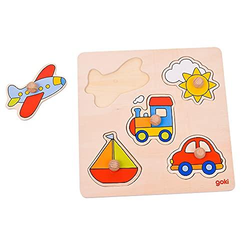 GOKI- Puzzles de Madera Encaje Viaje, Basic, Multicolor (57547)