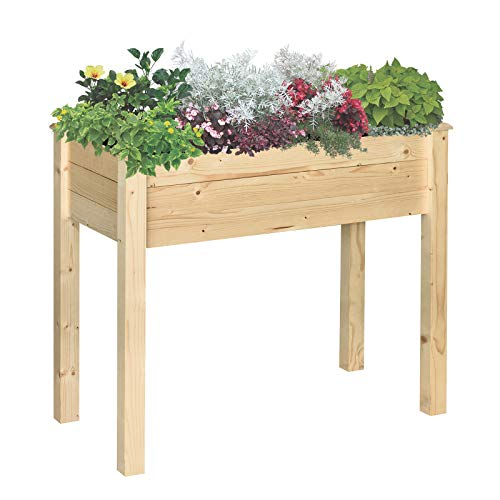 Outsunny Garden Rectangular Wooden Planting Flower Elevated Raised Bed Stand Pot Outdoor Planter Vegetable Herb Holder Display Box - 86L x 46W x 76Hcm